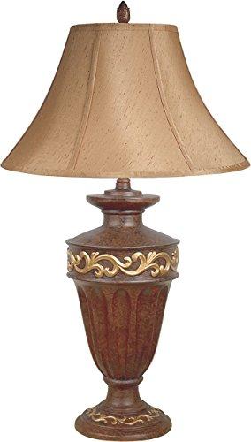 Hongville Stylish Resin Painted Gold/Wood Finish Base Table Lamp