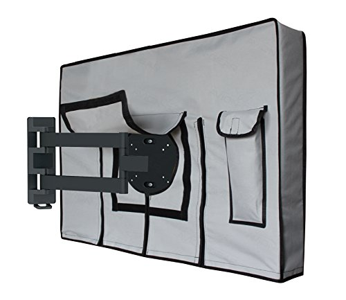 "Outdoor TV Cover – 46"" 48"" Weatherproof Universal Protector for LED, LCD, Plasma TV Screens. Built In Fully Covered Bottom & Remote Storage. Fits Standard Mounts and Stands – Grey by: Avion Gear by Avion Gear"