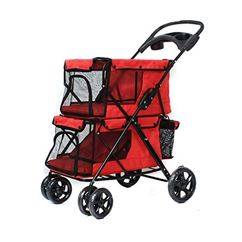 Jzmaio A32 Double-Decker Pet Stroller Folding Four-Wheeled Dogs/Cats Cart Lightweight Seat Belt Handbrake Travel Pet Sports Car. Dog cart (Color : Red)