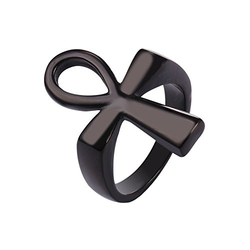 Black Costume Rings (Black Gun Plated Cross Ankh Ring, Size 10)