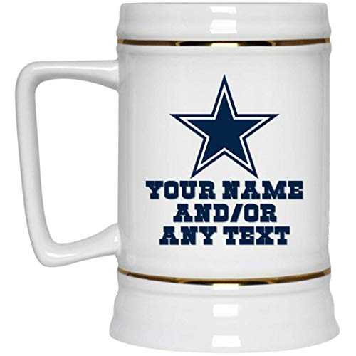 Custom Personalized Dallas Cowboys Beer Mug Dallas Cowboys Logo Beer Stein 22 oz White Ceramic Beer Cup NFL NFC Perfect Gift for any Cowboys Fan