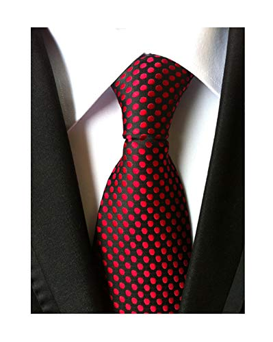 Men's Black and Red Polka Dots Party Silk Self Cravat Tie Fancy Novelty Neckties