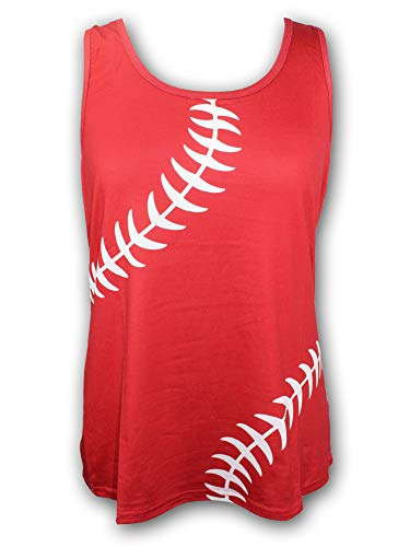 Baseball Tank Top for Mom Fans Sports Games Gifts Teen Women (Grey) (Red, Large)