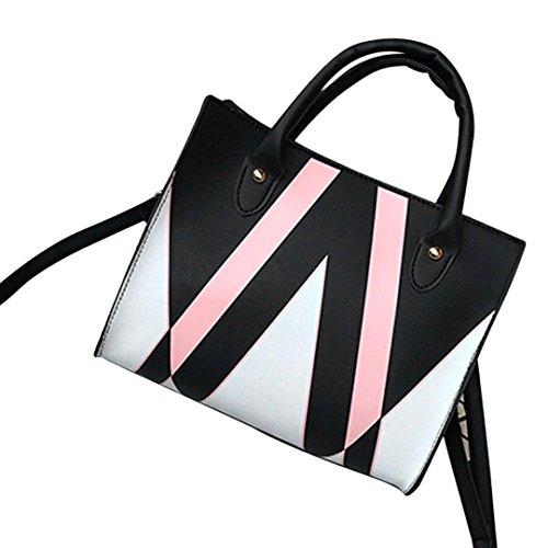Clearance! Woman Tote Bag, Neartime 2018 Casual Patchwork Zipper Bags Crossbody Bag Leather Handbag Shoulder Bag (25cm(L)×21cm(H)×12cm(W), Black)