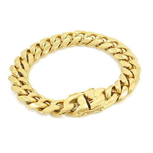 Solid 14k Yellow Gold Finish Stainless Steel 14mm Thick Miami Cuban Link Chain Box Clasp Lock (Bracelet 8'')