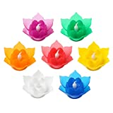 Romingo 7 Color Batteries Operated Lotus LED Candle Floating Candle Flameless Candle Light Beautiful Festival Lamp Decoration Home, Garden, Pond (Pack of 7)
