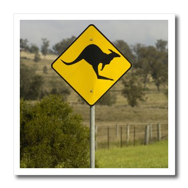 Kangaroo Sign Road (3dRose ht_74639_3 Beware of Kangaroos Crossing Sign, Australia-Pete Oxford-Iron on Heat Transfer for White Material, 10 by 10-Inch)