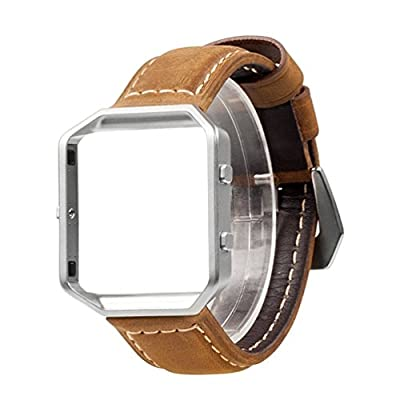 For Fitbit Blaze Bands, Wearlizer Premium Genuine Leather Replacement Strap with Metal Frame for Fitbit Blaze - Brown