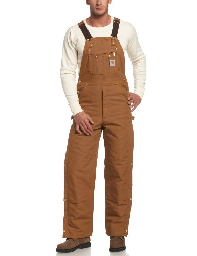 Carhartt Men's Quilt Lined Zip To Thigh Bib Overalls,Brown,42 x 36