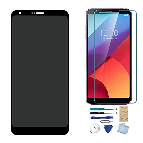 XR MARKET Compatible LG G6 Screen Replacement, LCD Display Touch Digitizer Assembly, for H870 H871 H872 LS993 VS998 VS988 US997, with Tools, Tempered Glass Screen Protector(Black NO Frame)
