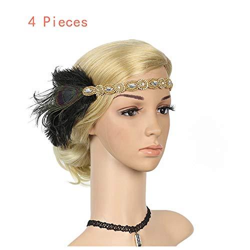 Naiflowers Prom Headdress,1920S Vintage Luxury Headpiece Feather Flapper Headband Great Gatsby Headdress Bridal Prom Headdress for ()