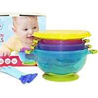 Highest Quality Spill Proof and Stay Put Suction Baby Bowl Set with Lids And ...