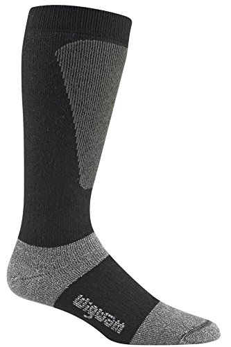 Wigwam Men's Snow Sirocco Knee High Performance Ski Sock,, Black, Large with a Helicase brand sock - Ski Brand