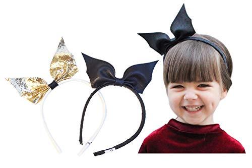 California Tot Girl's Faux Leathe/Glitterr Bat Wing Bow Headbands for Toddler, Girls (Bat Bow Hard headbands: set of 2)