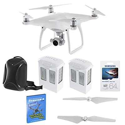 DJI Phantom 4 Quadcopter Aircraft - Bundle with 2x Spare Batteries, 64GB MicroSDXC U3 Card, Step By-Step Training for DJI Phantom 4, Quick-Release Propellers, DJI Multifunctional Backpack