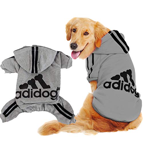 Scheppend Original Adidog Big Dog Large Clothes Sport Hoodies Sweatshirt Pet Winter Coat Retriever Outfits, Grey -