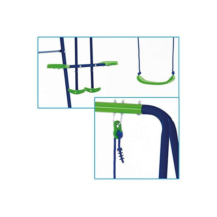 410VE3MVe9L Columpio doble Aktive Sports con balancín de 2 asientos y 2 columpios tradicionales, permite jugar a la vez a 4 niños mayores de 3 años Medidas columpio montado: 280 cm de ancho, 140 cm de profundo, 179 cm de alto, asientos: 35,5x18x8,5 cm, soporta 180 kg de peso máximo Cómodo y seguro, asientos ergonómicos y cuerdas resistentes de 114 cm de largo para sujetar los asientos y el balancín a la estructura del columpio
