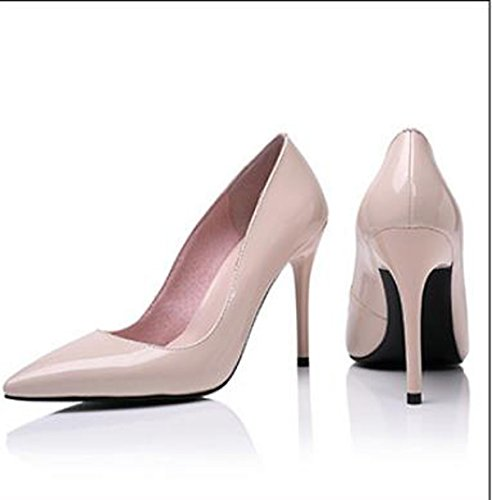 la 37 carrera con Shoes elegante ligera Heel fina de Moda punta Cuero 36 Transpirable Sandalias pintados desnudas alto 8cm AJUNR 5H0qfwC1