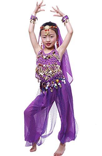 Astage Girls Arabian Princess Costume Belly Dancing Dress Halloween Carnival Set Purple M -