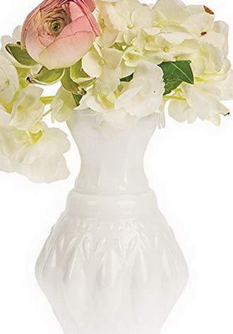 - Kaputar Vintage Milk Glass Vase (4-Inch, Bernadette Mini Ribbed Design, White) - Decorative Flower Vase   Model WDDNG -153