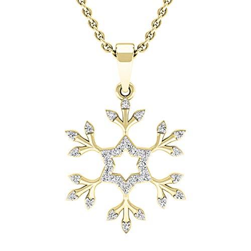 Dazzlingrock Collection 0.15 Carat (ctw) 18K Round White Diamond Snowflake Ladies Pendant (with Gold Chain), Yellow Gold