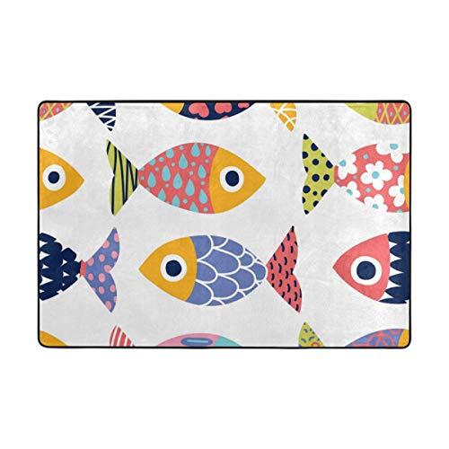 (CANCA Ocean Sea Rainbow Fish Area Rug Runner Floor Mat Doormat Carpet Cover Pad for Kids Boys Girls Bedroom Living Room Dining Hall 80x58 inch or 6.7x4.8 Feet)