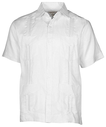 Mojito Collection (Mojito Collection Men's Big & Tall Linen Guayabera Shirt-White-7X)