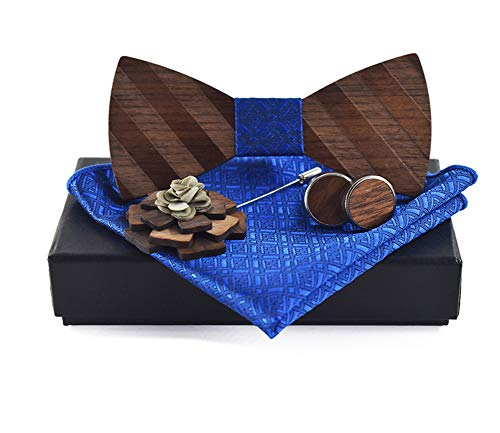 Men Royal Blue Party Banded Pre-tied Wood Bow Ties Set Elegant Banquet Prom for Grooms Wedding Wooden BowTie Necktie