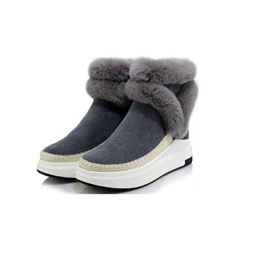 Casual da piattaforma stivali lana Cashmere Donna Patch 37 neve stivali inverno GRAY Bootie e 37 Muffin caldi ispessito cranio Nubuck Sn8vpn