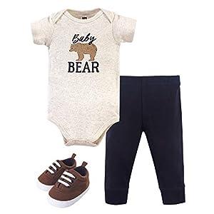 Hudson Baby Unisex Baby Cotton Bodysuit, Pant and Shoe Set