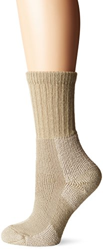 Thorlos Women's  KX Hiking Thick Padded Crew Sock, Khaki, Large