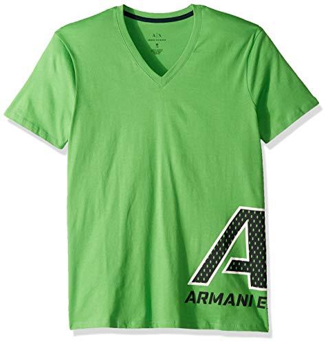 A|X Armani Exchange Men's Short Sleeve V-Neck Large Graphic Logo T-Shirt, Classic Green M - Mens T-shirts Green Armani