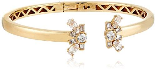- Nicole Miller Nmny Cosmic Ends Open Hinge Gold/Clear Cuff Bracelet