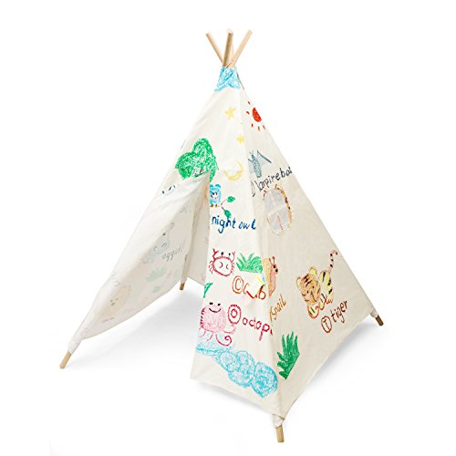 FiveJoy Kids Teepee (Animal Kingdom) - 100% Cotton - Easy to Put Together and Store