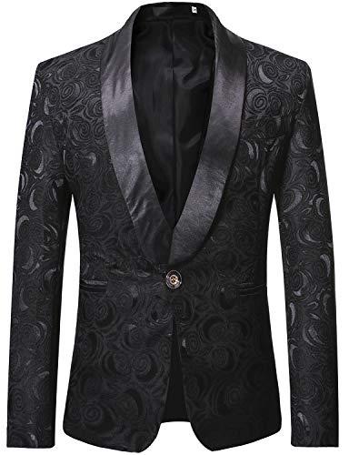 (ZEROYAA Men's 1 Button Shawl Collar Wedding Dress Suit Black Rose Jacquard Dinner Jacket Prom Tuxedo ZZST02 Black X)
