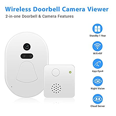 ENKLOV Wireless WIFI Doorbell Camera Viewer with Night Vision for Home Security,App Push Notificationn with Vistor Snapshot Picture ( IOS&Android )