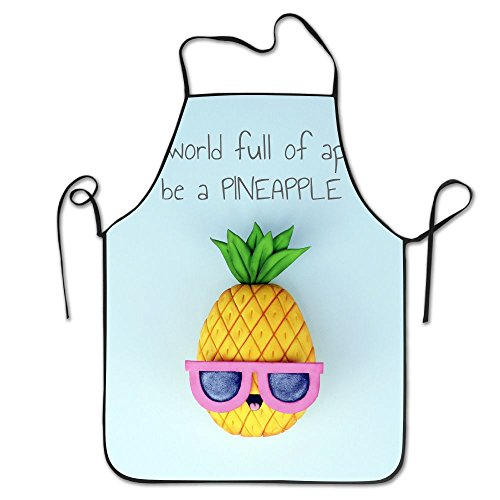 In A World Full Of Apples Be A PINEAPPLE Kitchen Cooking Apron For Women And Men - Adjustable Neck Strap - Restaurant Home Kitchen Apron Bib For Cooking, Grill And Baking, Crafting, Gardening, BBQ