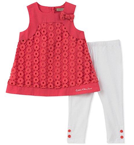 Calvin Klein Baby Girl's Tunic Legging Set Pants, Watermelon/White, 12M by Calvin Klein