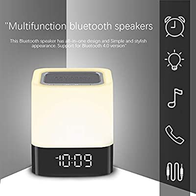 VEHOLION Night Lights Bluetooth Speaker,Touch Sensor Bedside Lamp Dimmable Warm Light,Color Changing Bedside Lamp,MP3 Music Player,Wireless Speaker with Lights