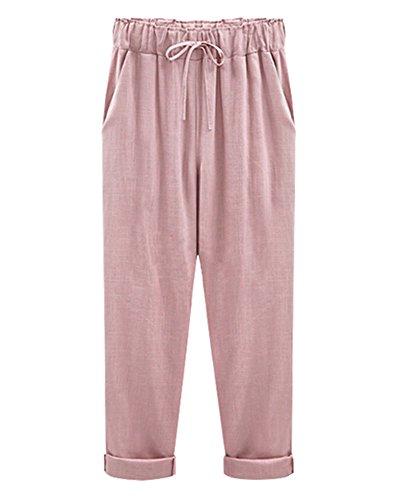 Mujer Pantalones Harem De Cintura Elástica Con Cordón Tallas Grandes Suelto Casuales Capri Pantalones Pink /Capri