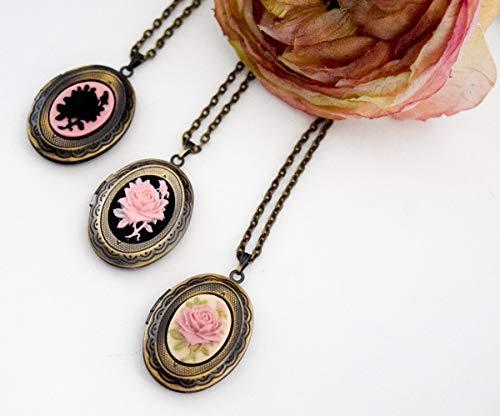 Mini Rose Cameo Locket Necklace