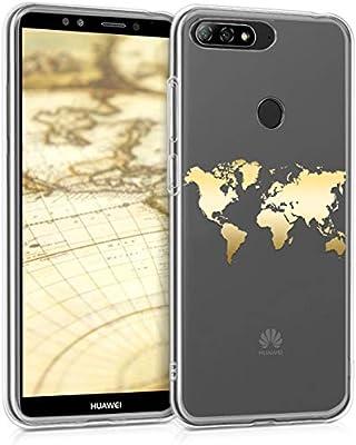 kwmobile Funda para Huawei Y7 (2018)/Y7 Prime (2018) - Carcasa Protectora de [TPU] con diseño de Mapa del Mundo en [Dorado/Transparente]