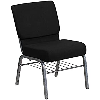 Flash Furniture HERCULES Series 21''W Church Chair in Black Fabric with Book Rack - Silver Vein Frame
