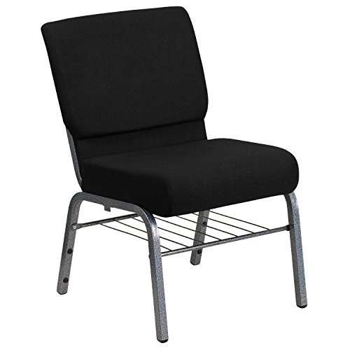 Flash Furniture HERCULES Series 21''W Church Chair in Black Fabric with Book Rack - Silver Vein Frame by Flash Furniture