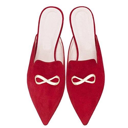 Lovirs Women's Velvet Backless Slip On Loafers Flats Embroidery Mule Slippers Shoes Red