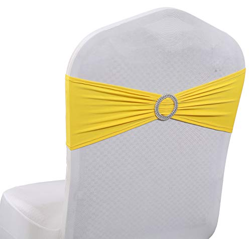mds Pack of 100 Pcs Spandex Chair Sashes Bows Elastic Chair Bands Ties with Buckle Slider Bow for Wedding Decoration Lycra Slider Sashes Bow - Yellow ()