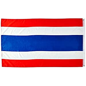 Blue Mango Thailand Flag Nylon 100% Outdoor Embroidered Boat Flag Brilliant Colors Canvas Header and Double Stitched 3x5 ft.