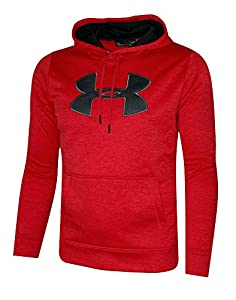Under Armour Men's Storm Fleece Big Logo Hoodie Athletic Hooded Shirt Heather (XL, Red Heather)