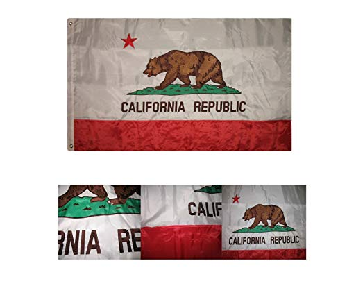 AES Embroidered Double Sided 2ply Solarmax Nylon 3x5 3ft x 5ft California Flag House Banner
