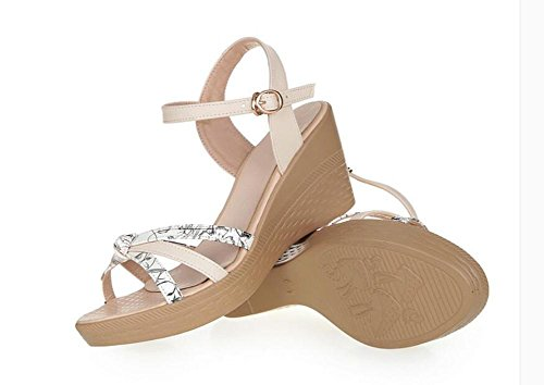Girls L@YC Women Wedge Sandals Summer Comfortable Leather Casual Thick High Heels , white , 40